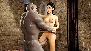 3d elf mistress ruined by angry orc!
