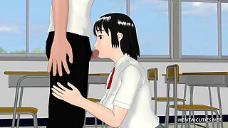3D Anime schoolgirl blowing hard dick on her knees