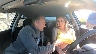 Tattooed bombshell Karma RX fucked in a car and gets cum on tits