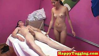 Sweet oriental masseuse seducing clients cock