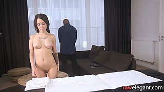 Interracially assfucked babe gets massaged