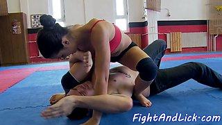 Wrestling teens having passionate lesbiansex
