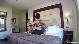 Topless chicks on a treadmill seduce one dude and enjoy hardcore threesome sex