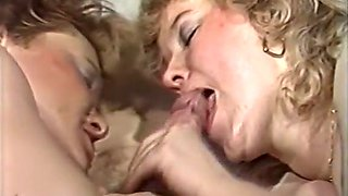 Two mature blonde BBW chicks on their knees sharing big dick