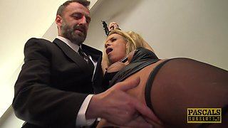 Slave Sasha spreading legs having her anal fucked in BDSM