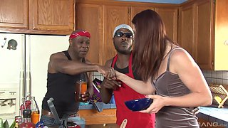 Interracial kitchen gangbang with CiCi Rhodes taking loads of cum