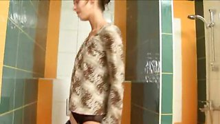Amazingly skinny stunning girl on toilet