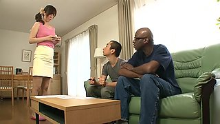 Crazy Japanese model Homami Takasaka in Amazing couple, interracial JAV scene