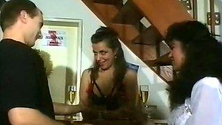 Mesmerizing dark skin brunette in white lingerie blows white cock