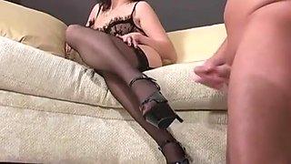Mistress demands slave to cum on her heels