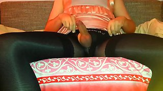 crossdress girl in black tights and stockings