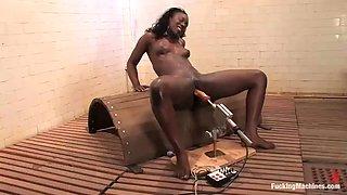 ebony babe gets a taste of fucking machines
