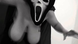 Masked amateur wife puts her huge natural breasts on display