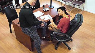 Hidden camera at the office records boss fucking Becky Bandini