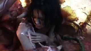Hot asian girl tasting tentacle sperm after cumshot