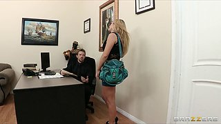 Busty brunette secretary Kiera King seduces her bosses