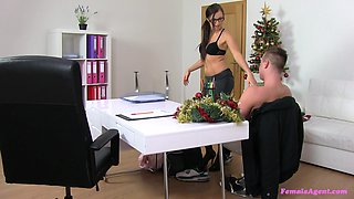 Female agent Lara in stockings turns on and rides her client