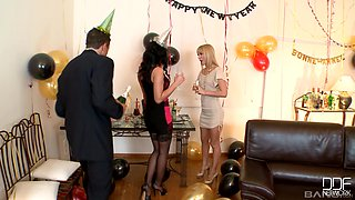 Amazing Aleska Diamond and her two friends crave for a long dong