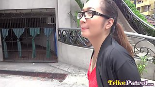 Nerdy Filipina in glasses turned to be insatiable bitch