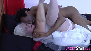 Granny bride sucks black dick and gets plowed