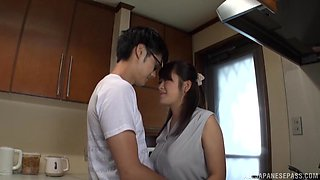 Japanese chick Kawaguchi Hasumi gets her hands on a long dick