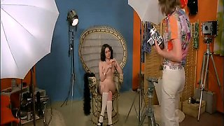 Lina Romay completely naked showing us her shaved pussy and