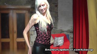 girl blonde does lapdance and handjob at a casting