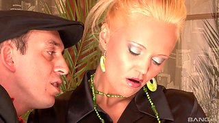 Eliss Fire enjoys bouncing on a stiff cock in front of a brunette