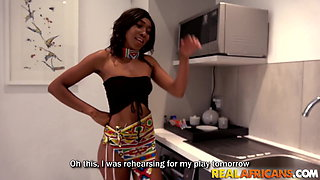 Real hood chick fucked in the kitchen by BBC