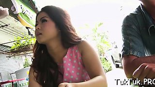 Thai floozy gets her narrow cunt slammed and filled with cum