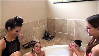 Attractive lesbian wives explore their foot fetish fantasy