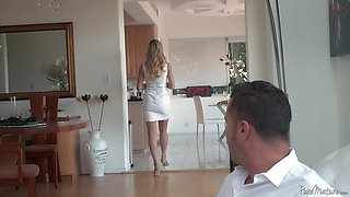 Mature chick Brandi Love bounces on a hard love tool