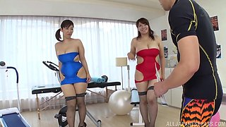 Sexy Haduki Naho and another girl like to suck a cock together
