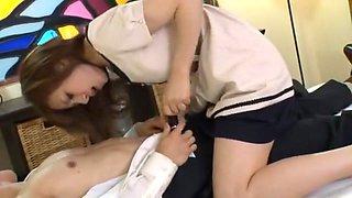 Crazy Japanese slut Tsuyako Yoshino, Reiko Godai in Exotic Secretary, Handjobs JAV clip