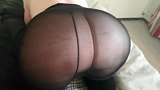 Jerk off on black pantyhose