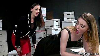 Busty boss punishes sleeping brunette