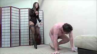 Hot Asian mistress ballbusting and destroys slave nuts