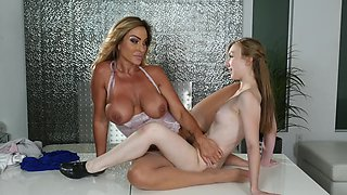 Domme boss and her petite young secretary have lesbian sex