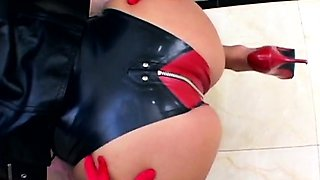 Three glamour sex slave babes anally fucked by one hard cock