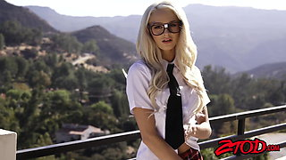 Debaucherous schoolgirl Emma Hix creampied after rough plow