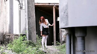 Voyeur spies waitress upskirt outdoor