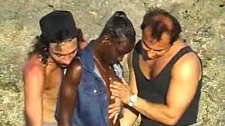 African shaggy hotty fuck two lads on the rocks