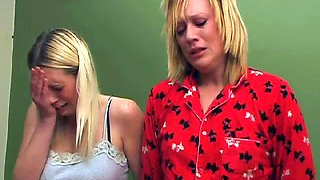 Two blond sisters spanked