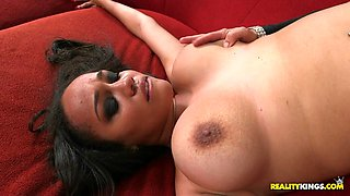 julie kay spread out on that couch and got her snatch munched on