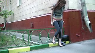 Beautiful amateur redhead girl pisses in her pants