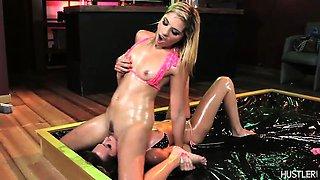 Lesbian lovers oil wrestling