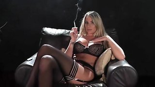 Smoking lingerie blonde playing