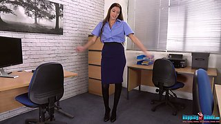 Whorish young secretary Britney is stripping in the office