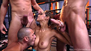 Amazing gangbang with double penetration for skinny Veronica Leal