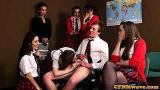 CFNM schoolgirls blowing lucky cock